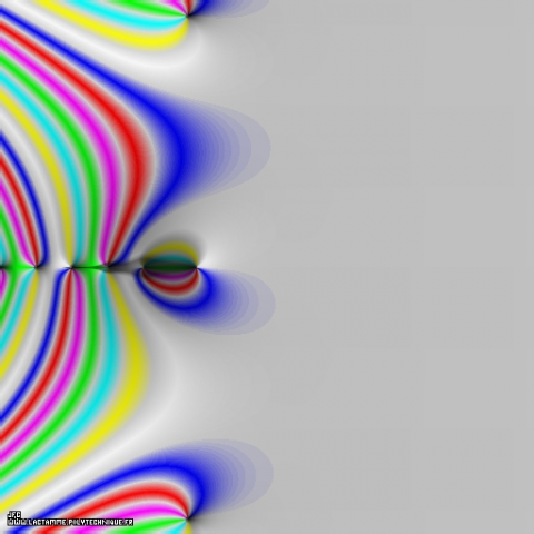 Visualisation tridimensionnelle de la fonction Zeta de Riemann dans (-10.0,+20.0)x(-15.0,+15.0) (vue aérienne), Colonna Jean-François