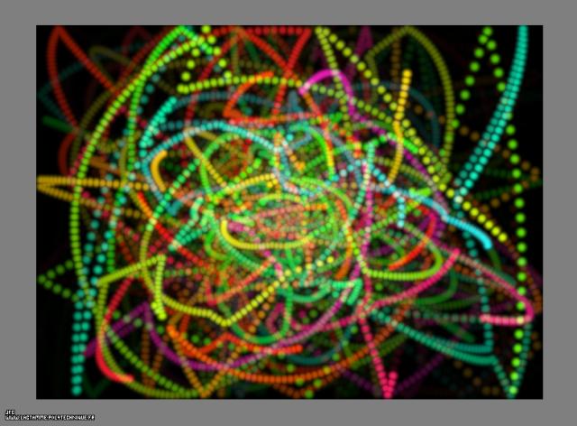 Les trajectoires de particules à température élevée dans une boite bidimensionnelle, dans un champ de gravitation central, Colonna Jean-François