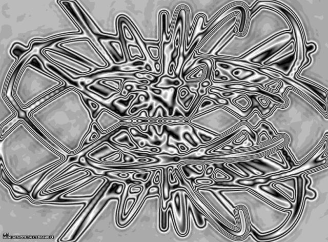 Vue artistique des trajectoires de 12 particules de vitesse initiale nulle, dans un billard tridimensionnel avec champ de gravitation central attractif, Colonna Jean-François