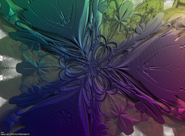 L'ensemble fractal dans les quaternions obtenu lors du calcul des racines de Q^3=1 grâce à la méthode de Newton avec translation le long du troisième axe de l'espace des pseudo-quaternions (un 'NewtonBulb'), Colonna Jean-François
