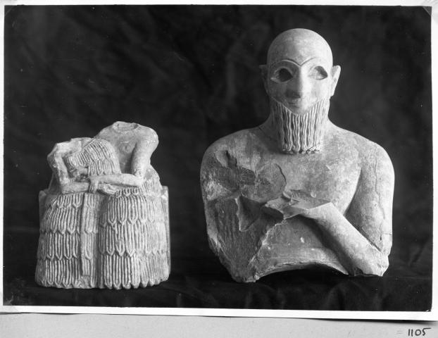 Mari, Tell Hariri Couple assis et buste d'un personnage barbu Syrie, Syria n° d'inventaire : 01105, Ifpo Institut Français Du Proche-Orient
