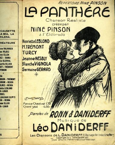 La Panthère : chanson réaliste créée par Nine Pinson à l'Eldorado (illustration Léon Pousthomis), Léo Daniderff .