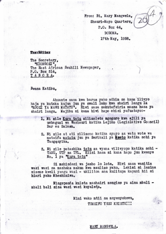 Lettre de Bi Mary Mangwela au secrétaire régional de Kiongozi, le journal de l'église catholique datée du 17 mai 1958 au sujet de sa poésie Njozi ya mawe matatu